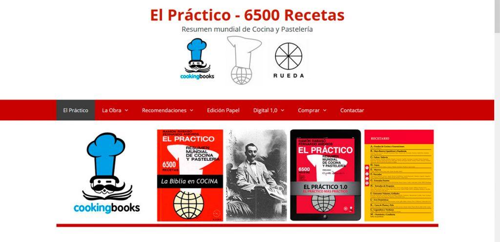 Web del libro de cocina El Práctico - 6500 rectas,- Resumen mundial de Cocina y Pastelería